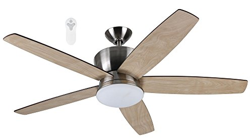 - Litex Industries ALD52BNK5L Alderson Collection Brushed Nickel Quick Connect 52-inch Ceiling Fan with Five Reversible Blades and with Single LED Light Kit with Frosted Glass