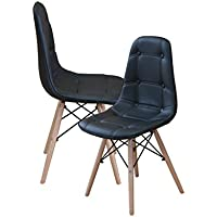 Modern Set of Tufted 2 EAMES Style Chair Natural Wood Legs (Black)