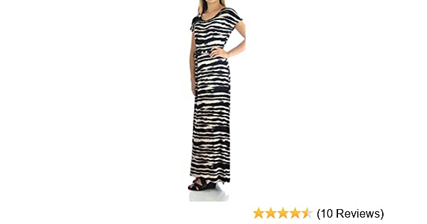 1676ad0a83a Design History Womens Short Sleeve Maxi Dress Small Onyx Soft Beige Combo  at Amazon Women s Clothing store
