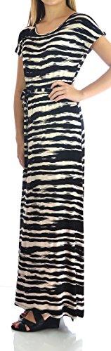 Design History Womens Short Sleeve Maxi Dress Small Onyx Soft Beige Combo