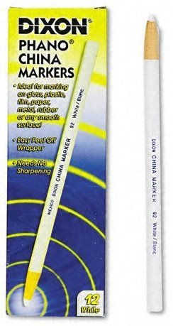 6 Pack Dixon 00092 Phano Peel-Off China Marker - White - 12 per Package