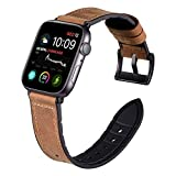 Karei Hybrid Rubber Leather Sweat Proof Sports Band Compatible with Apple Watch Bands Sweat Proof Silicone Vintage Replacement Straps iwatch Series 4 44mm,Series 1 2 3 42mm (Frosted Brown, 44mm/42mm)