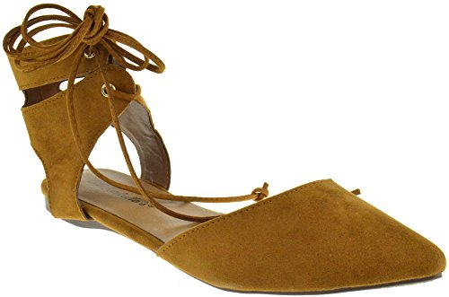 Shoe Dezigns Deanna 01 Faux Suede Pointed Toe Wrap Around Ankle Lace Up Flats Tan 6Mt98