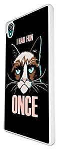 1214 - Sad Cat Face i had Fun Once Design For Sony Xperia Z1 Fashion Trend CASE Back COVER Plastic&Thin Metal - White