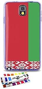 Carcasa Flexible Ultra-Slim SAMSUNG GALAXY NOTE 3 / N9000 de exclusivo motivo [Bielorrusia Bandera] [Violeta] de MUZZANO  + ESTILETE y PAÑO MUZZANO REGALADOS - La Protección Antigolpes ULTIMA, ELEGANTE Y DURADERA para su SAMSUNG GALAXY NOTE 3 / N9000