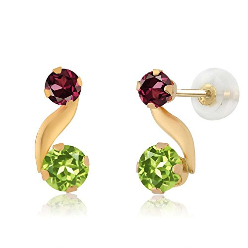 Rhodolite Yellow Earrings - 0.84 Ct Round Green Peridot Red Rhodolite Garnet 14K Yellow Gold Earrings