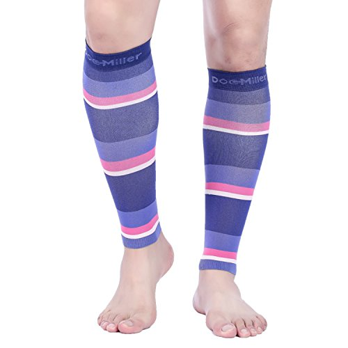 Doc Miller Premium Calf Compression Sleeve Dress Series 1 Pair 20 30Mmhg Strong Support Graduated Sock Pressure Sports Running Recovery Shin Splints Varicose Veins  Blackpurplepinkpeach  Large