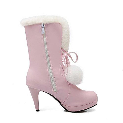 AllhqFashion Damen Rein Hoher Absatz Rund Zehe PU Leder Reißverschluss Stiefel Pink