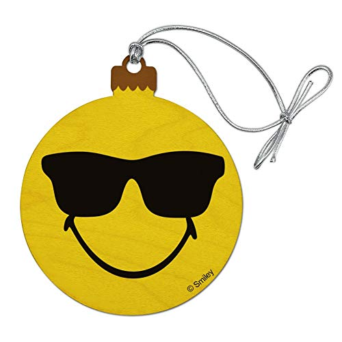 GRAPHICS & MORE Smiley Smile Happy Sunglasses Yellow Face Wood Christmas Tree Holiday Ornament ()