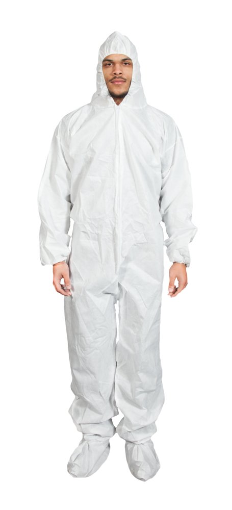 Quest Comfortwear Coverall with Hood and Boot White, 01144-25 (Case of 25 suits), Size XL