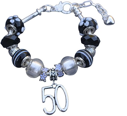 50th-Birthday-Gifts-for-Women-50th-Birthday-Charm-Bracelet-Adjustable-Bangle-Perfect-50th-Birthday-Gift-Ideas