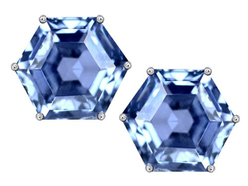 Star K Fancy Octagon Cut Earrings Studs with Simulated Aquamarine Sterling Silver ()