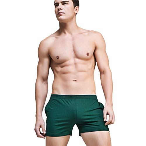 LIFLWO Shorts for Men Sexy Print Brand Cotton Breathable Pouch Boxer Elastic Waist Pant Underpants Underwear Green