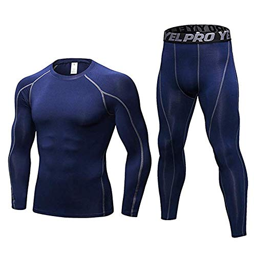 Heatgear Tactical Full T-shirt - Minghe Men's Compression Base Layer Long Sleeve T-Shirt Leggings Athletic Cool Dry Running Tights Navy Blue