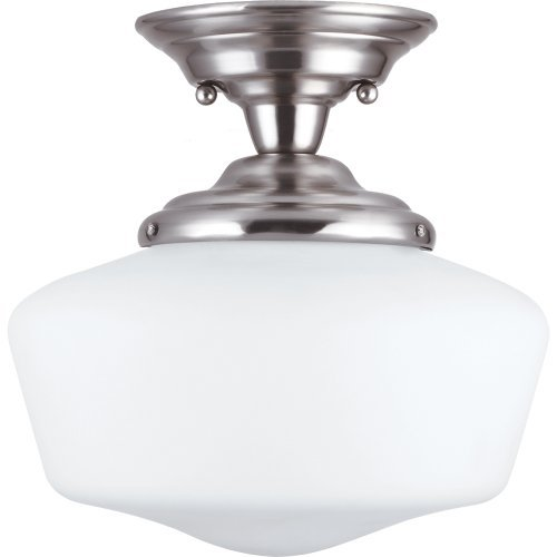 (Sea Gull Lighting 77436BLE-962 Semi-Flush Mount with White Schoolhouse Glass Shades, Brushed Nickel Finish by Sea Gull Lighting)