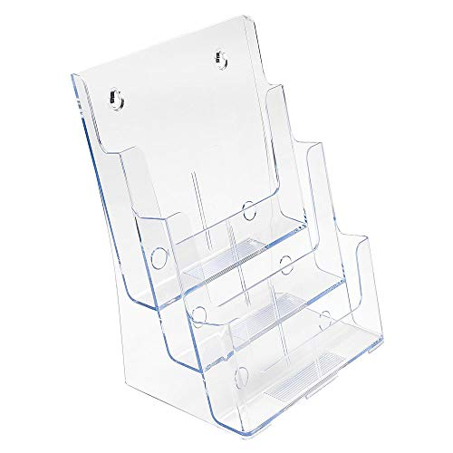 """Deflecto Multi-Compartment Docuholder, Countertop or Wall Mount, 3-Tiered Literature Holder, Large Size, Clear, 9-1/2""""W x 12-5/8""""H x 8""""D (77301)"""