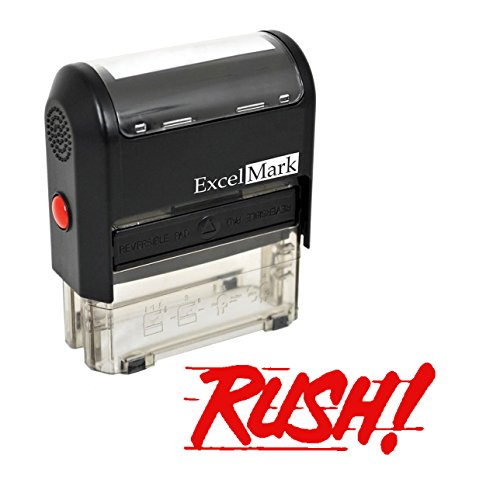 RUSH Self Inking Rubber Stamp - Red Ink