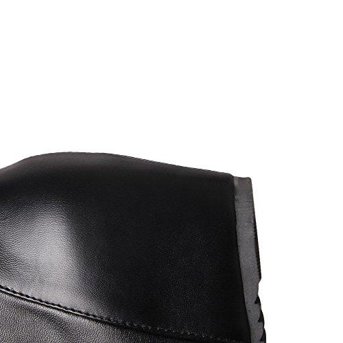Allhqfashion Women's High-top Zipper Soft Material Kitten-Heels Round Closed Toe Boots Black LLhnLnklgx