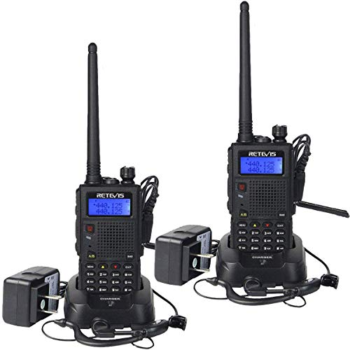 Retevis RT5 High Power Dual Band Two Way Radio FM Scan VOX Walkie Talkies Rechargeable Car Charging Function Ham Radio with Earpiece(2 Pack) ()