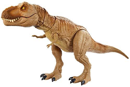 Jurassic World Camp Cretácico Isla Nublar Epic Roarin 'Tyrannosaurus Rex Figura de acción grande con función de ataque primordial, sonido, temblor realista, articulaciones móviles; A partir de 4 años
