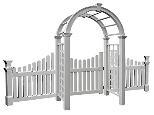 BestNest New England Nantucket Deluxe Arbor with Wings and Gate (Fence Wings Picket)