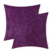 Brawarm Comfy Throw Pillow Covers Cases for Couch Sofa Bed Solid Chenille Cozy Fuzzy Soft Striped Textured Cushion Covers for Home Decorative 18 X 18 Inches Plum Purple Pack of 2