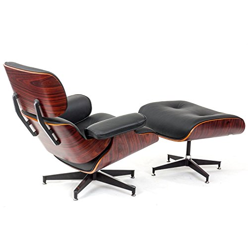 Mid-Century Classic Design Rosewood Lounge Chair and Ottoman Set in Black Top Grain Leather