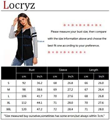 Locryz Women's Raglan Long Sleeve T-Shirt Loose Blouse Henley V Neck Baseball Tee Shirt Tops