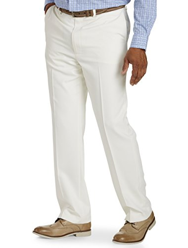 Gold Series Dxl Big and Tall Continuous Comfort Performance Plus Flat-Front Pants, Cream 44 X (Cream Dress Pants)