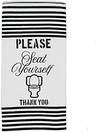 Twisted Wares Hand Towel - PLEASE SEAT YOURSELF THANK YOU - Funny Bathroom Towel, Terry Cloth With Hang Tight Loop - White Bar Towel