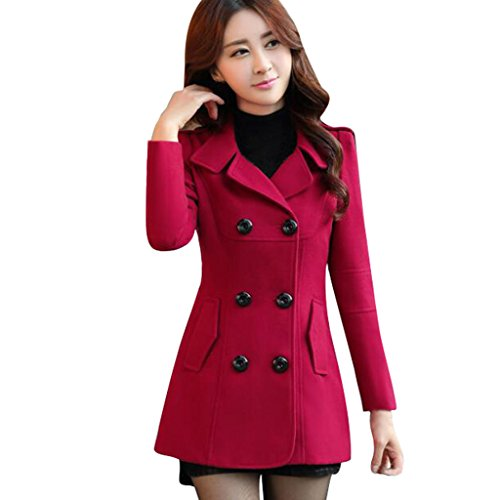 4f68fcd0afc Ms Stunner Women s Winter Spring Solid Color Double Breasted Elegant Wool  Coats