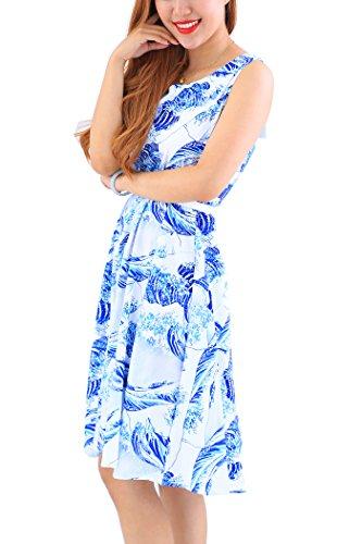YMING dijo que las mujeres de clase tienen vestido blanco oscilación del estilo de Hepburn de la vendimia más el tamaño Azul, onda de Kanagawa