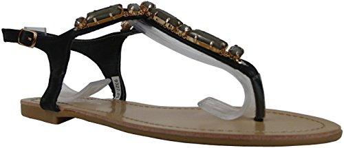 Damen Sandaletten mit Riemchen und Strass Sommer Freizeit Zehentrenner Römer Sandalen