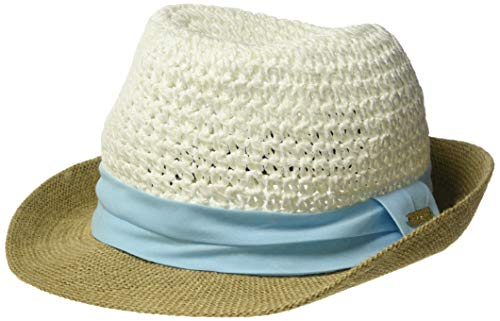 Steve Madden Women's Paper Crochet Straw Fedora with Woven Band, Light Blue, One Size