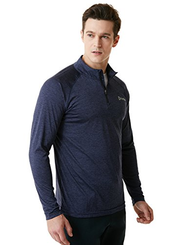1/4 Zip Thermal (Tesla TM-MKZ02-MNV_Large Men's 1/4 Zip Cool Dry Active Sporty Shirt MKZ02)