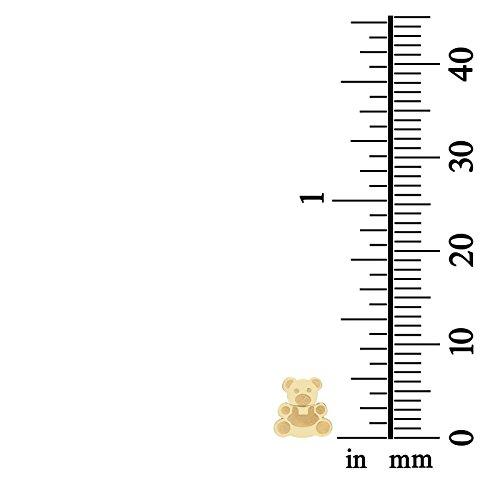 14K Fine Yellow Gold Enamel Bear Screw Back Stud Earrings for Girls Gift Children Kids by youme Gold Jewelry (Image #3)