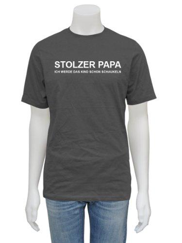 Papa T-Shirt Stolzer Papa - Vater Daddy Dad - neutral - stahlgrau XXL