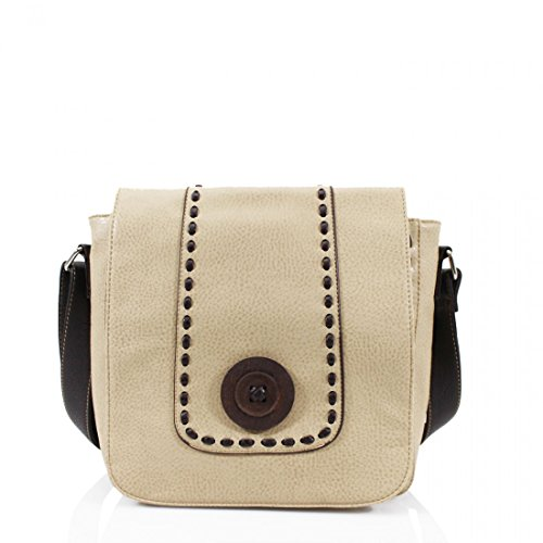 Ladiess Craze Bags Crossbody Detail Leather Messenger Beige Womens womens Button Faux bags Trendy London Small Bag for 4qx4HrvB
