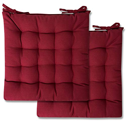 Sweet Home Collection Chair Cushion Seat Pads Indoor/Outdoor Printed Tufted Design Soft and Comfortable Covers for Dining Rooms Patio with Ties for Non Slip, 2 Pack, Burgundy Red 2 Pack