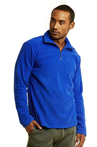 (ET TU Men's Quarter Zip Polar Fleece Pullover Sweatshirt (XL, Royal Blue))