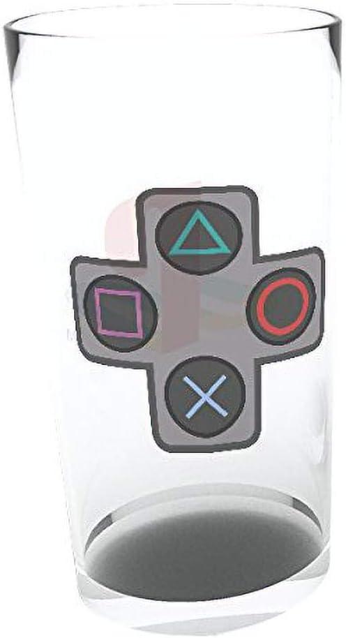 Beer Glass 500ml Metal Badge PLAYSTATION Logo