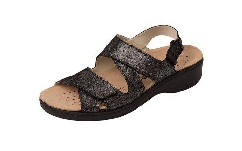 Orthopädische-Sandale mit auswechselbarem Fußbett schwarz metallic