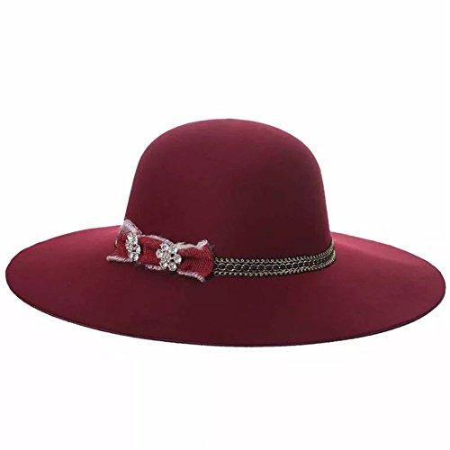 Signore Tesa Modo Chiesa Larga Matrimonio Partito Del Zerci Cappello Cappello Cappello Vino Rosso Di Di Della aSrwqa