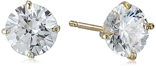 10k Gold Set - 10K Yellow Gold Stud Earring set with Round Cut Swarovski Zirconia (1 cttw)