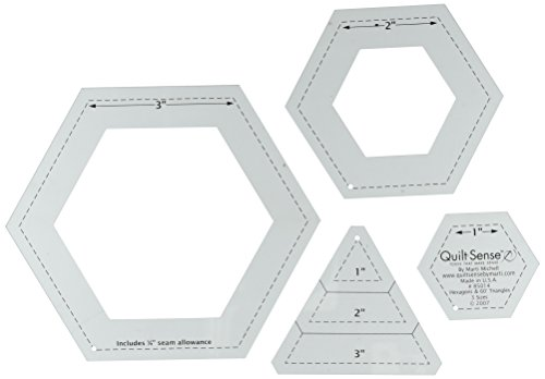 Quilt Sense Hexagons & 60 Degree Triangles, 3 Sizes by Quilt Sense