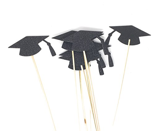 Black Grad Hat Centerpiece Sticks DIY Graduation Decor Double Sided Glitter 8 Pack (Jet Black)