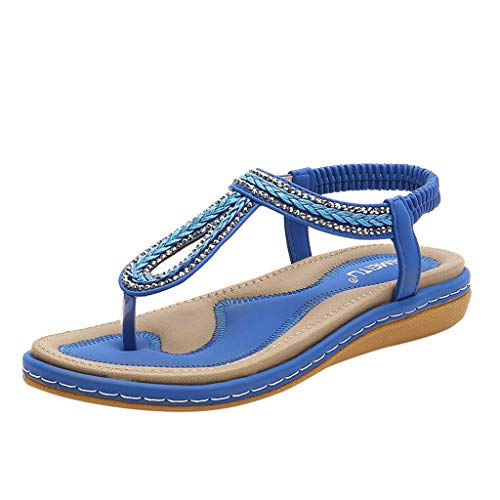 Kauneus Women's Flat Sandals, Summer Beach Flip Flops Thong T-Strap Flat Rhinestone Beads Slipper Bohemia Elastic Slip On Blue ()