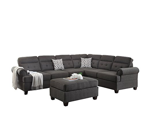 Left 3 Piece Sectional (Poundex Bobkona Oliver Linen-like Polyfabric Left or Right Loveseat 3Piece SECTIONAL with Ottoman Set in Ash Grey)