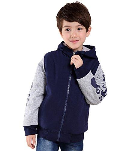 Little Boys Spring Jacket Heavyweight Sherpa Fleece Lined Sweatshirt Hoodie Size 6 (Boys 7 For Size Jackets)