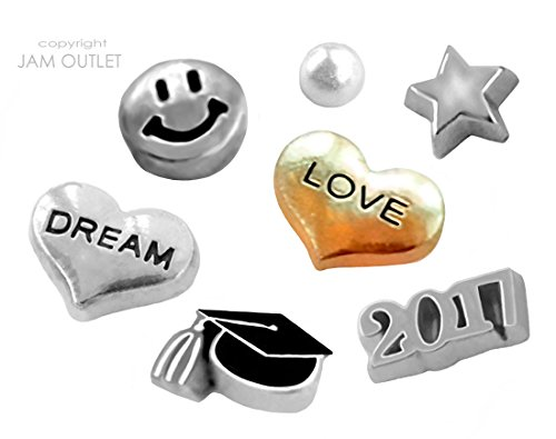 7 Pc 2017 Graduaton Graduate Floating Charms - Fits all Living Memory Glass Lockets, ()